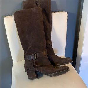 Brown suede/leather wide calf boots